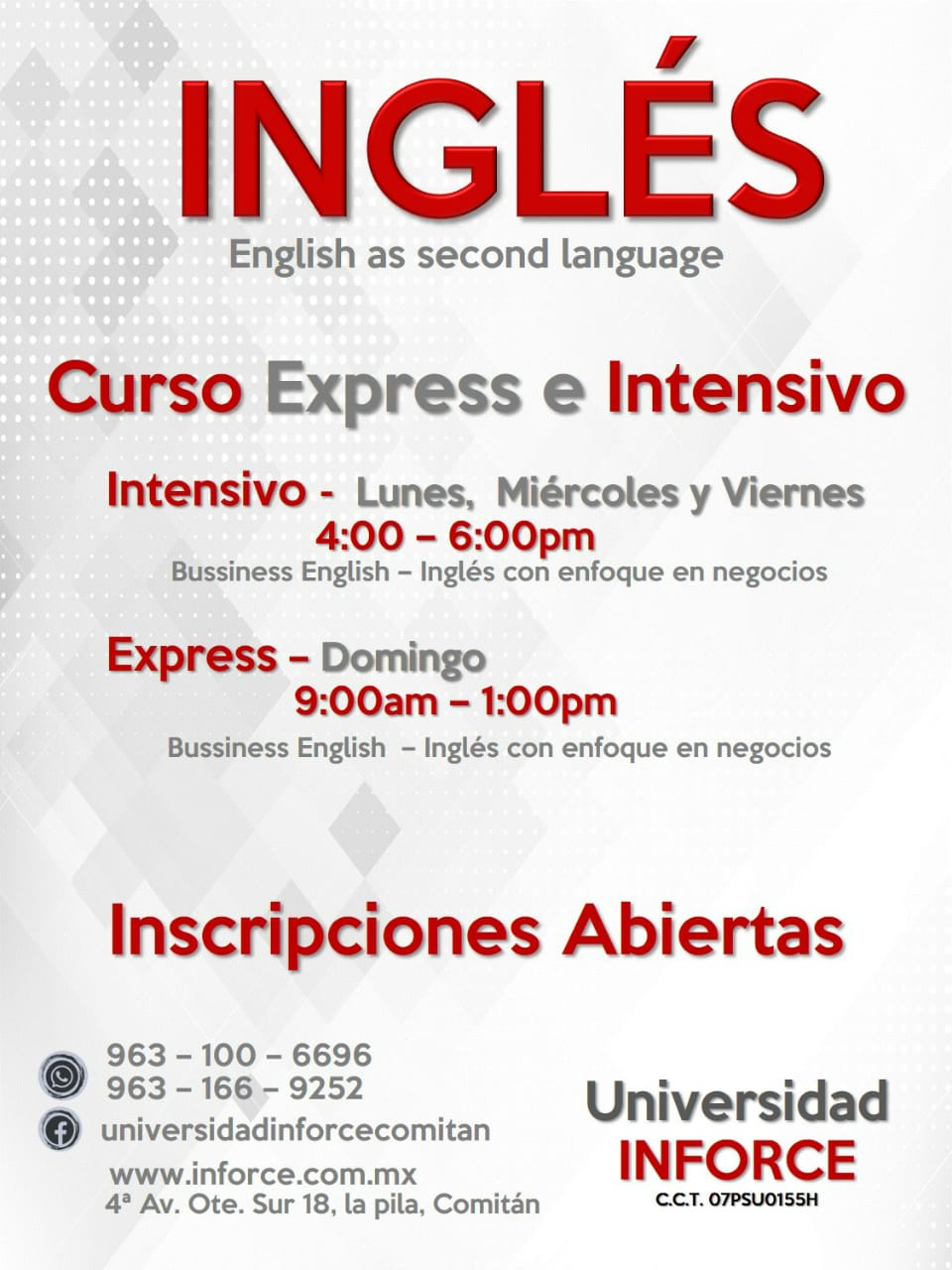 Ya estan abiertas a los cursos de Inglés Second Language